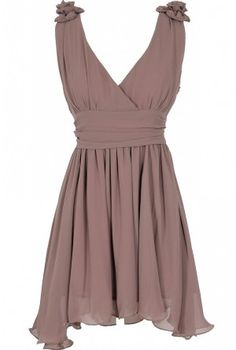 #Rosette Shoulder Dress in #Lavender Grey #morikei --Click on the pic to Order now~