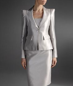 Single Button Blazer in Cotton and Silk - with matching Skirt - Armani