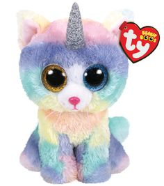 Ty Beanie Boo Small Heather the Unicorn Cat Soft Toy. I was a cat when I was born, then I magically grew a horn. I know that this is not the norm, but now I am a unicorn. Big Eyed Stuffed Animals, Stuffed Animal Cat, Stuffed Unicorn, Beanie Babies, Ours Boyds, Ty Beanie Boos Collection, Ty Peluche, Animals With Horns, Ty Toys