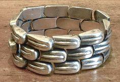 Antique Mexican Silver Bracelet with leaf design by William Spratling