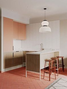 stylish Lovely Small Apartment Interior Design Ideas That You Need To Imitate Small Appartment, Small Apartment Kitchen, Small Apartment Design, Small Apartment Decorating, Home Decor Kitchen, Red Kitchen, Kitchen Small, Coral Kitchen, Kitchen Brick
