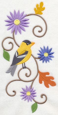 Goldfinch and Asters Spray design (K3997) from www.Emblibrary.com