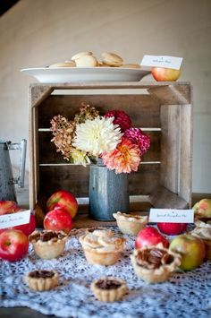Vintage Rustic Fall Inspiration Shoot by Djijo Studios via Dogwood Events. Totally using this fall dessert setup for our Thanksgiving entertaining!
