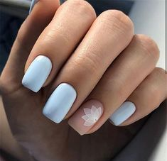 96 Lovely Spring Square Nail Art Ideas - New Ideas Nail Art Designs, White Nail Designs, Short Nail Designs, Acrylic Nail Designs, Nails Design, Square Acrylic Nails, Square Nails, White Nail Art, White Nails