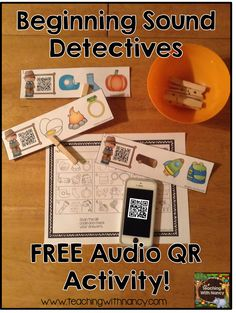 Free: Your students will love being beginning sound detectives with this QR code activity that incorporates audio! Learning Stations, Literacy Stations, Literacy Centers, Reading Centers, Reading Activities, Literacy Activities, Alphabet Sounds, Letter Sounds, Initial Sounds