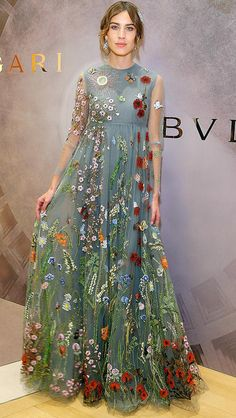Alexa Chung in a floral gray Valentino dress