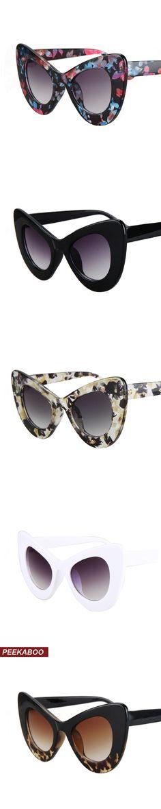 Peekaboo 2016 cat eye vintage sunglasses women top fashion white oversized sexy cat eye sunglasses for women black red lentes