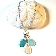 Sea Glass Necklace from our Mermaid Tears collection with aqua, pink and sea foam blue sea glass