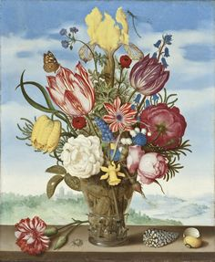 Drawing is Seeing | Themes & Images (PDF) | Ambrosius Bosschaert (Holland, 1573-1621), Bouquet of Flowers on a Ledge,1619, Gift of Mr. and Mrs. Edward W. Carter (M.2003.108.7) #ArtHistory #Curriculum #LACMAforEducators