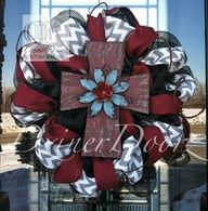 DIY wreaths on Pinterest ~ make one to look like this? ***Chevron Burlap and Burgundy Rustic Cross deco mesh by DzinerDoorz