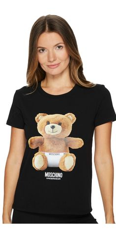 Grin and bear it.  Capture the creature comforts of the #Moschino #Jersey #Stretch Moschino #Bear #T-Shirt. #apparel #clothing #tops #tees #t-shirts