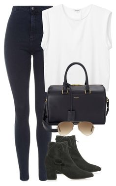 """Untitled #422"" by flowercalder ❤ liked on Polyvore featuring Topshop, Monki, Yves Saint Laurent and Ray-Ban"