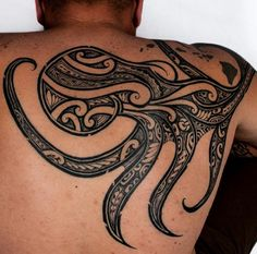 Tribal Octopus Tattoo by Kenny Brown @ Mainland Ink - TATTOOBLEND