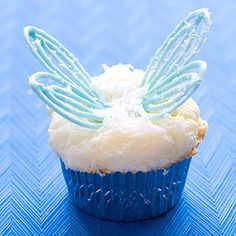 Recipe uses angel-food cake mix for fewer calories and a fluffy cupcake AND it has wings.