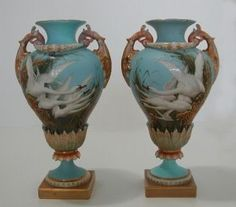 Royal Worcester Vases with Swans
