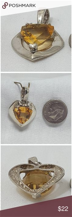 Fun costume jewelry! Pendant. Fun costume jewelry! Pendant. Fauceted golden color crystal surrounded by silvertone heart shape. Coin for sizing comparison, Not included with jewelry. Pendant only, No chain included. Category listed as Necklace as Poshmark does not provide a Pendant category. Jewelry Necklaces