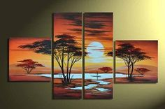 hand-painted oil wall art Grassland sun Home Decoration Modern Abstract landscape Oil Painting on canvas 5pcs/set wood Framed $39.96