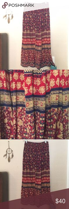 Bohemian Maxi Skirt Adorable patterned bohemian Maxi skirt in great condition, listed under anthropologie for views :) Anthropologie Skirts Maxi