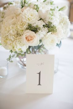 Ivory white low centerpiece. Hydrangea, roses, dahlias, lisianthus, stock, eucalyptus. Florals by Jenny