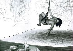 Carolee Schneemann, Up to and Including Her Limits, 1973–76, performance, live video relay, crayon on paper, rope, harness suspended from ceiling, dead Kitch on a plinth. The Kitchen, New York, 1976 (artwork © Carolee Schneemann; photograph by Allen Tannenbaum, provided by the artist)