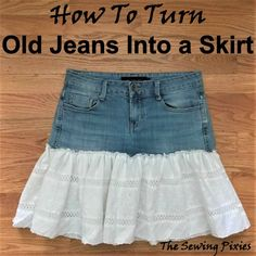 Latest Pictures How To Turn Old Jeans Into A Skirt - The Sewing Pixies Tips I enjoy Jeans ! And much more I like to sew my own, personal Jeans. Next Jeans Sew Along I'm goi Diy Jeans, Sewing Jeans, Sewing Clothes, Denim And Lace, How To Make Skirt, Diy Clothes Refashion, Jeans Rock, Cute Skirts, Casual Skirts