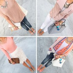 Four quick and easy casual but classy outfits that you can wear for Spring! StylishPetite.com
