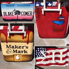 Painted by Peyton Kinsey. Sorority Canvas, Sorority Paddles, Sorority Crafts, Sorority Recruitment, Fraternity Coolers, Frat Coolers, Gamma Phi Beta, Theta, Formal Cooler Ideas