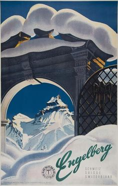 Martin Peikert (1901-1975) ENGELBERG lithograph in colours, 1952, printed by Klausfelder S.A., Vevey