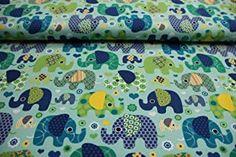 Pinidi Stoff/Meterware / ab 25cm Jersey-Qualität/Jersey Elefanten auf helltürkisem Hintergrund -  - 5.0 von 5 Sternen - DIY Stoffe und so Alexander Mcqueen Scarf, Quilts, Elephants, Stars, Creative, Quilt Sets, Log Cabin Quilts, Quilting, Quilt
