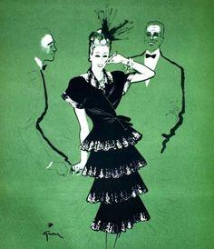 Dress Molineux illustrated by René Gruau. Album de la Mode du Figaro 1945-46