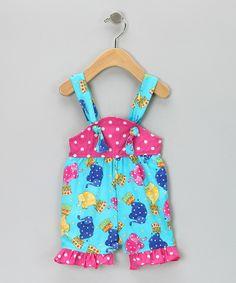 Hot Pink Elephant Shortalls - Infant