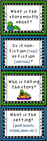 FREEBIE Reading posters:  This set of 8 posters reminds students of the questions they need to ask themselves during reading