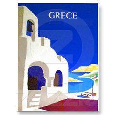 Greece Vintage Travel Poster - Custom Posters - Design Your Own. Retro Poster, Vintage Poster, Poster S, Vintage Travel Posters, Vintage Postcards, Vintage Images, Vintage Art, Poster Prints, French Vintage