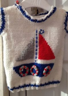 Hand knit baby sweater with sailing boat/ Sailor Baby Sweater Baby Boy Knitting Patterns, Baby Sweater Knitting Pattern, Knit Baby Sweaters, Boys Sweaters, Knitting For Kids, Crochet For Kids, Knit Patterns, Baby Knitting, Knitting Needles