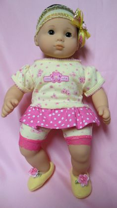 BITTY BABY GIRL Pink & Yellow 4 pc 15 inch doll by TheDollyDama, $16.00