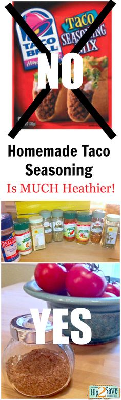 Make your own yummy and nutritious taco seasoning & say NO to store-bought taco seasoning -- the ingredients are so unhealthy! by Hip2Save (It's Not Your Grandma's Coupon Site!)   http://hip2save.com/2012/02/14/homemade-taco-seasoning-healthier-tastier/