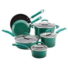Rachael Ray 10 Piece Stainless Steel Cookware #emerald