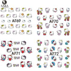 Sara Nail Salon 1 Sheet Lovely Cartoon Nail Art Water Transfer Decals Nail Art Sticker DIY Tips Manicure Decoration  A769-792 #>=#>=#>=#>=#> Click on the pin to check out discount price, color, size, shipping, etc. Save and like it!