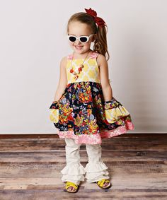 Look at this Navy Floral Quatrefoil Dress & Ruffle Leggings - Toddler & Girls on #zulily today!