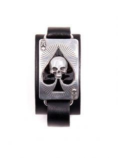 Ace of Dead Spades Bracelet by Alchemy of England Wrist Bracelet Tattoo, Jewelry Tattoo, Skull Bracelet, Men's Jewelry, Ace Of Spades Tattoo, Spade Tattoo, Indie Tattoo, Biker Gear, Inked Shop