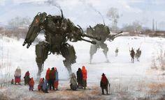Les créations de l'artiste allemandJakub Rozalski, quiinsère des robots géants et des mechasfuturistes dans de vieilles peintures polonaises des année