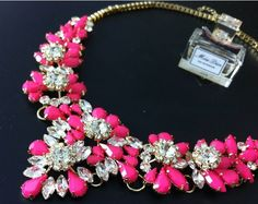 2013 Fall collection. Luxury pink and clear crystal statement Necklace. Also available in yellow.