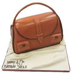 purse cakes made in england   This Brown Leather Handbag novelty cake is available in either ...