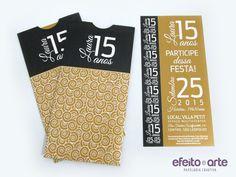 Convite preto e dourado para 15 anos, modelo Itacaré. Orçamentos e pedidos pelo e-mail contato@efeitoearte.com.br