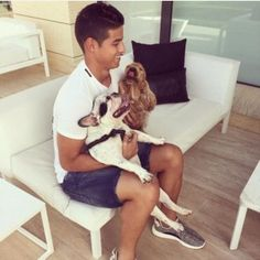 James Rodriguez is an animal lover with at least three dogs, including a cocker spaniel and French bulldog Everton, Lionel Messi, Fc Barcelona, Neymar, Lyon, Fifa, Ronaldo, James Rodriguez Colombia, James Rodrigues
