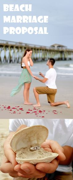 Here is a wonderful marriage proposal idea on the beach next to the docks. Just be sure to have someone taking a picture at the right moment.