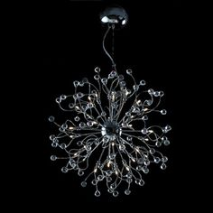 @Overstock.com - Funky 48-Light 45-inch Polished Chrome Crystal Adjustable Hanging Pendant - Faceted round 30-percent lead crystals encompass this gorgeous work of art. Extreme curves and twists of the arms of this pendant form an effect unlike any other. Polished off in a gorgeous Chrome silver finish, for that sleek contemporary design.  http://www.overstock.com/Home-Garden/Funky-48-Light-45-inch-Polished-Chrome-Crystal-Adjustable-Hanging-Pendant/6985673/product.html?CID=214117 $1,040.59