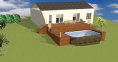"""Résultat de recherche d'images pour """"petite piscine terrain en pente"""" Backyard, Patio, Deck, Image Search, Swimming Pools, House Plans, Sweet Home, Images, Building"""