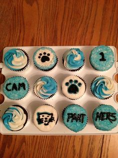 No I'm not a panthers fan ;) Just super proud of my BFF :)   Panthers cupcakes by Sandra!    (repinning my cupcakes that the Carolina Panthers posted) :)