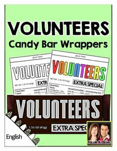 Candy Bar Wrappers for Volunteers - Great Gift Idea!